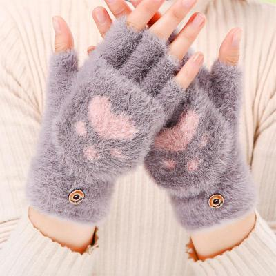 Women's Winter Warm Touch Screen Gloves Cute Cat claw Sensory Fingerless Gloves Knitted Fluff Outdoor Flip cover Gloves 1 Pair
