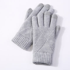 Female Winter Warm Knitted Full Finger Gloves Men Solid Woolen Touch Screen Mittens Women Thick Warm Cycling Driving Gloves H46