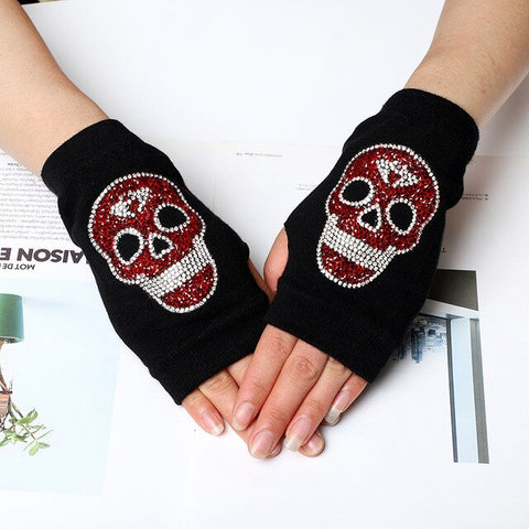 Women's Winter Warm Touch Screen Mitts Black Knit Half Finger Driving Gloves Punk Skull Rhinestone Short Hip-hop Gloves H82