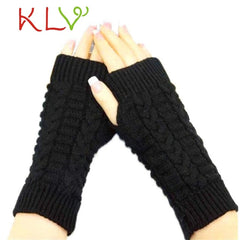 KLV 2018 Half Finger Gloves For Women Winter Warm Wool Knitting Arm Gloves Soft Warm Mittens handschoenen guantes mujer New