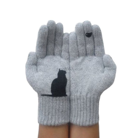 Womens Winter Faux Wool Thick Warm Knit Gloves Funny Creative Cartoon Cat Bird Irregular Patchwork Palm Outdoor Mittens