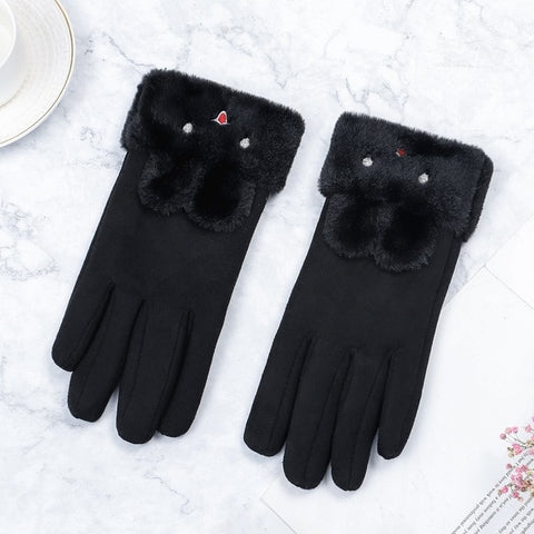 Women Gloves Winter Touch Screen 2020 Female Suede Furry Warm Full Finger Gloves Lady Winter Outdoor Sport Driving Women Gloves