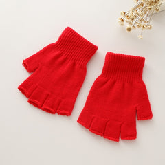 Fingerless Gloves Woman Winter Knitted Pair 1 Stretch Half Finger Elastic Soft Warm
