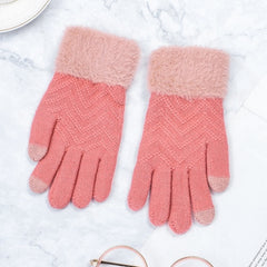 Winter Women Knitted Gloves Touch Screen Female Gloves Knitted Thicken Warm Full Finger Soft Stretch Knit Mittens Ladies Guantes