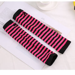 Long Winter Gloves Arm Cover Classic Black White Striped Cotton Wrist Cover Arm Ladies Gloves Sleeve Knitted Gloves Womens