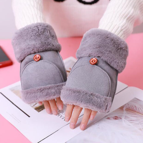 Women's half finger gloves Suede leather solid color plus velvet thick plush flip gloves students winter writing warm gloves E53