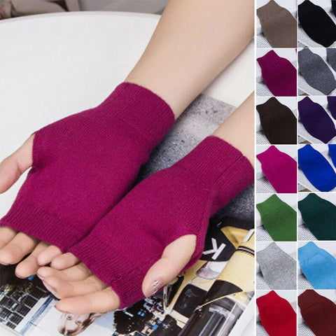 1 Pair Men Women Unisex Cashmere Fingerless Winter Gloves Hand Wrist Warmer Mittens Harajuku Korean Style for Ladies