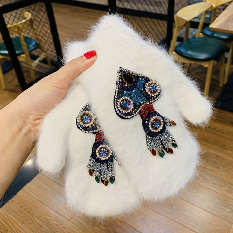 Women Gloves Winter Crystal Octopus Rabbit Fur female double Warm Full Finger Mittens Christmas Gifts