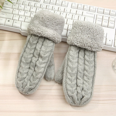 Women Fashion Knit Twist Flowers Mittens Winter Female Wool Plus Cashmere Velvet Thickening Warm Full Finger