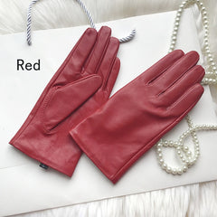Elegant Women Gloves Genuine Lambskin Real Leather Sheepskin Autumn And Winter Plus Velvet Trendy Female Short Glove 27 Colors