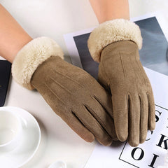Women Winter Gloves Velvet Leather Touch Screen Cycling Gloves Wool Mittens Guantes Muje Women's driving Gloves