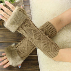 Women Cute Thick Fingerless Plush Touch Screen Mittens Solid Color Couple Gloves Winter Warm Velvet Half Finger Typing Gloves
