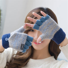Winter Wool Gloves Thick Warm Mittens Fashion Girls Women Ladies Hand Wrist Warmer Winter Solid Ladies Fingerless Gloves Mitten
