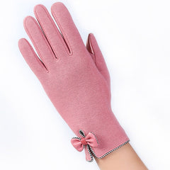 High Quality Fashion Elegant Women Touch Screen Glove Winter Female Lace Warm Cashmere Bow Full Finger Mittens Wrist Guantes 16E