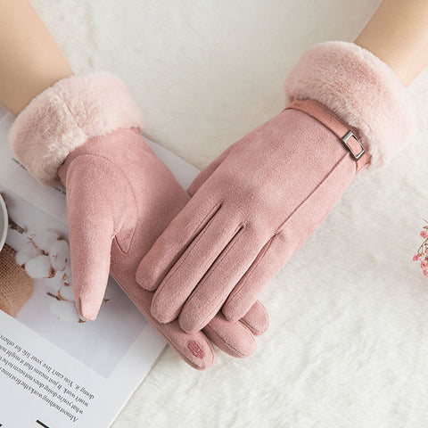 Winter Women Gloves Full Finger Faux Fur Warm Mittens Female Cashmere Touch Screen Gloves Guantes Mujer