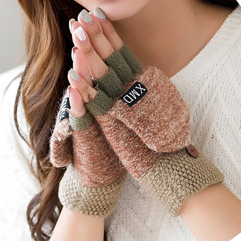 2020 Winter Warm Thickening Wool Gloves Knitted Flip Fingerless Flexible Exposed Finger Thick Gloves Mittens Men Women Glove