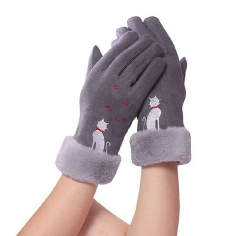 Fashion Elegant Female Wool Touch Screen Gloves Winter Women Warm Cashmere Full Finger Leather Bow Dotted embroidery Gloves