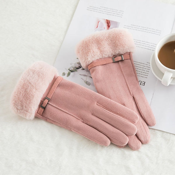 Sparsil Women Touch Screen Suede Glove Winter Artificial Rabbit Hair Wrist Mouth Gloves Thickening Warm Wool Fleece Mittens