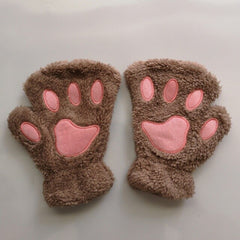 Hot Lovely Women Female Gloves Mitten  Cat Claw Paw  Plush Glove Costume Cute Winter Warm Half Finger