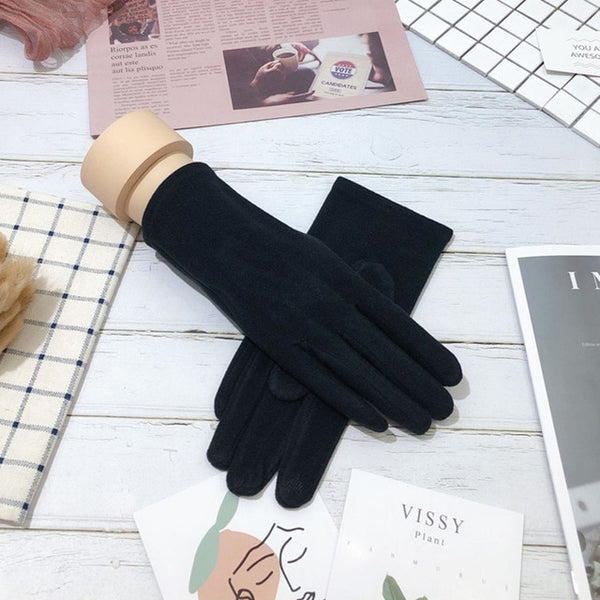 Female Winter Warm Driving Gloves Women Thin Cashmere Embroidery Elasticity Cycling Windproof Touch Screen Finger Gloves H16