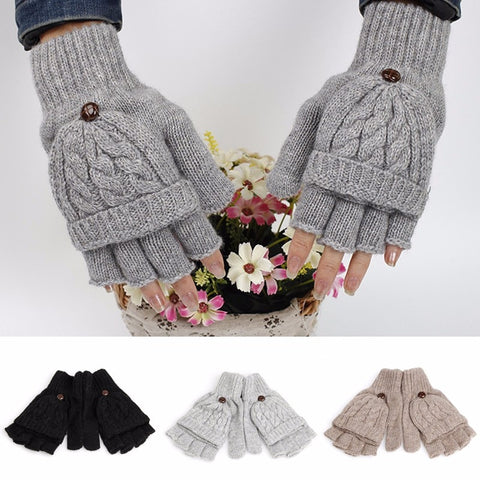 Women Men solid Winter Soft Fingerless Gloves Mittens Knitted Glove Hand Warmer