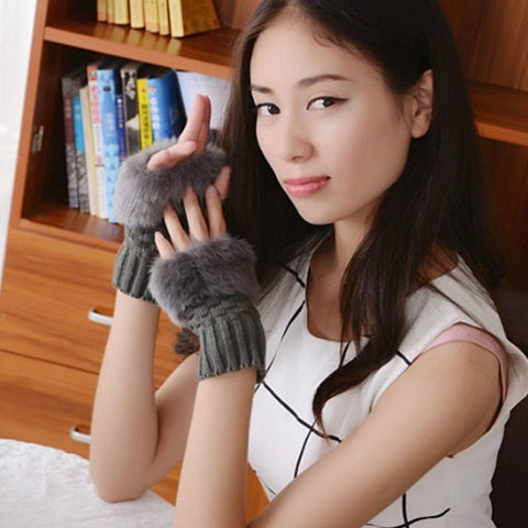 Women Gloves Stylish Hand Warm Winter fingerless Mitten Ladies Faux Woolen Crochet Knitted Wrist Warmer Glove Hot Sale
