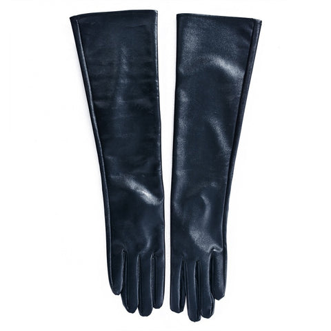 Women\'s Faux Leather Elbow Gloves Winter Long Gloves Warm Lined Finger Gloves
