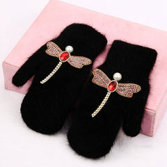 2018 women Gloves winter Crystal dragonfly Rabbit fur brand gloves for female double warm full finger Mittens Christmas gifts