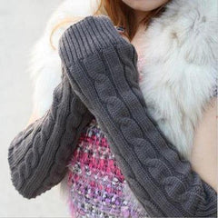 Spring Autumn Women Wool Arm Warmers Winter Fashion Fingerless Gloves Button Knitted Mitten Long Gloves Guantes Tactical Gloves