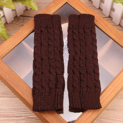 Women Stylish Hand Warmer Winter Gloves Arm Crochet Knitting Faux Wool Mitten Warm Fingerless Glove Gants Femme