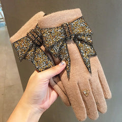 Luxury Brand Gloves Winter Women Gloves Cashmere Mittens Female Bling Rhinestone Bowknot Warm Wool Gloves Women Driving Gloves