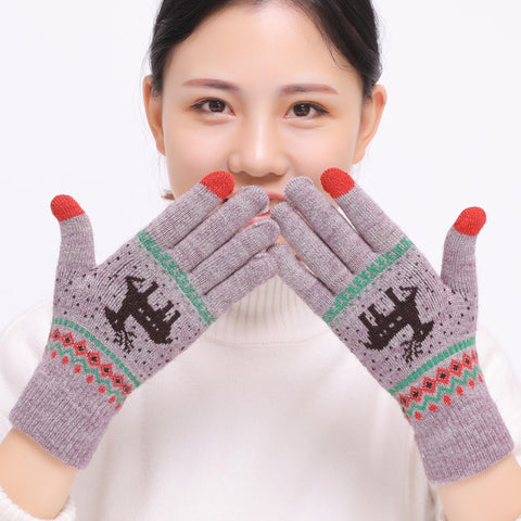2018 Women's Cute Elk Deer Snowflake Knitted Gloves Full Finger Winter Gloves Touch Screen Mittens Female Gloves Christmas Gift