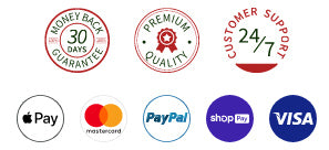 30-day Money Back, 24 hours Customer Support, Secured Payments