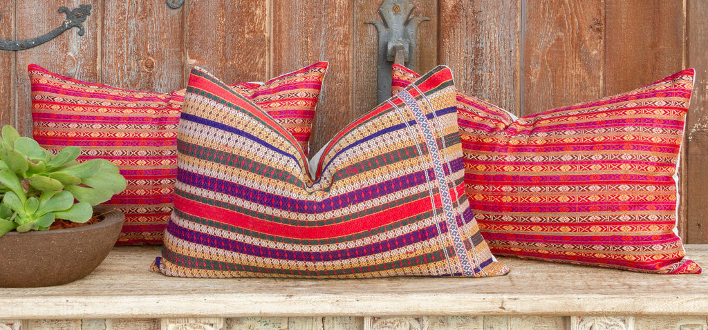 Mansehra Wedding Silk Shawl Lumbar Pillows