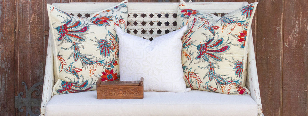 Block Print Floral Quilt Pillows
