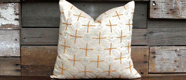 Ivory Ornament Kasoti Pillow