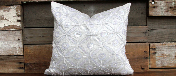 Silver Ornament Kasoti Pillow