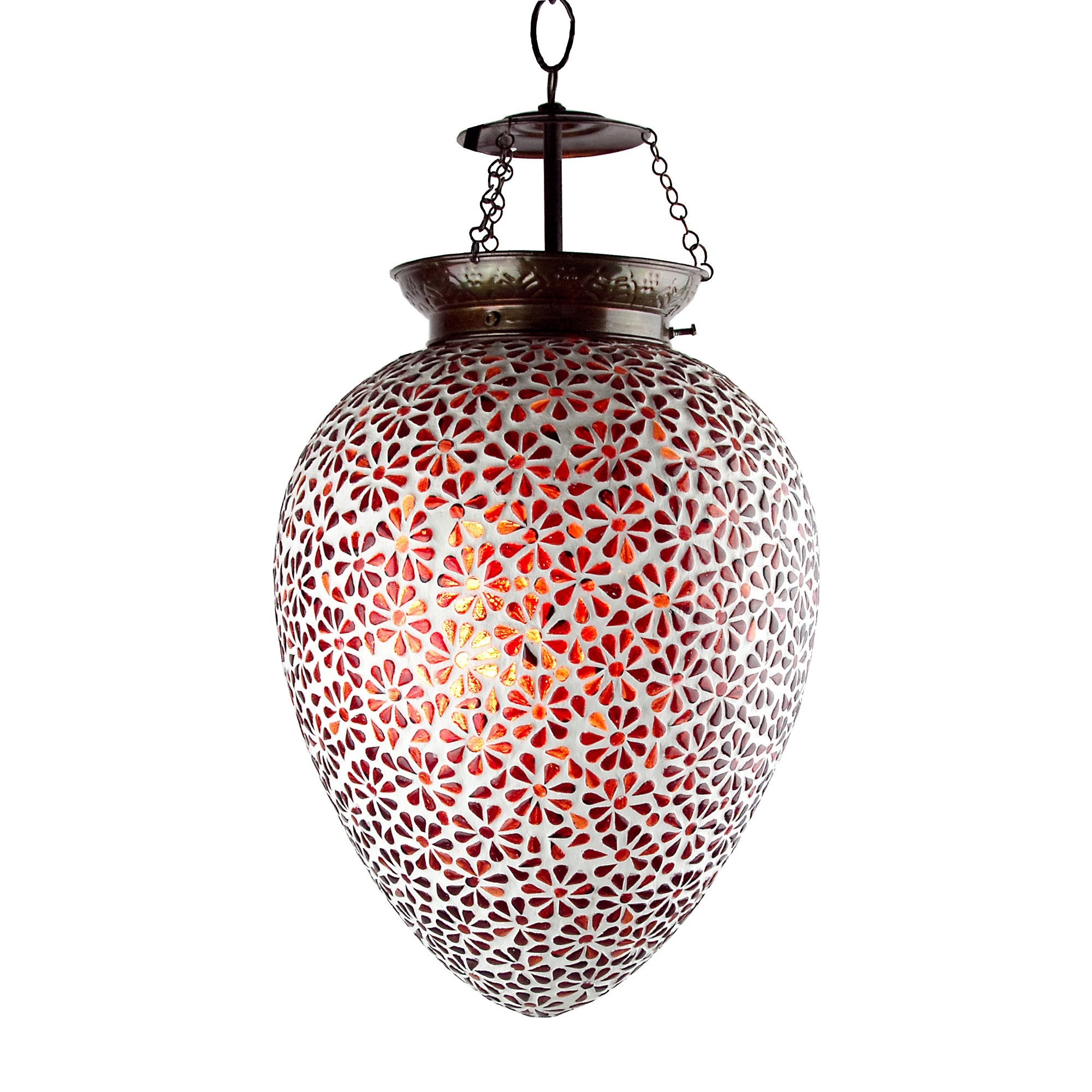 Colorful floral mosaic lamp