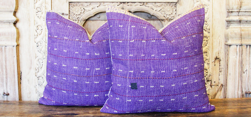 Aahan Bengal Kantha Pillow, Pair