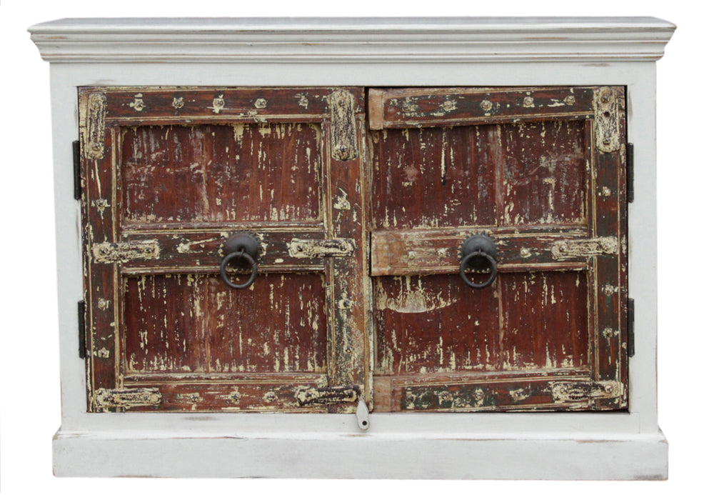Aged White Beawar Old Door Cabinet
