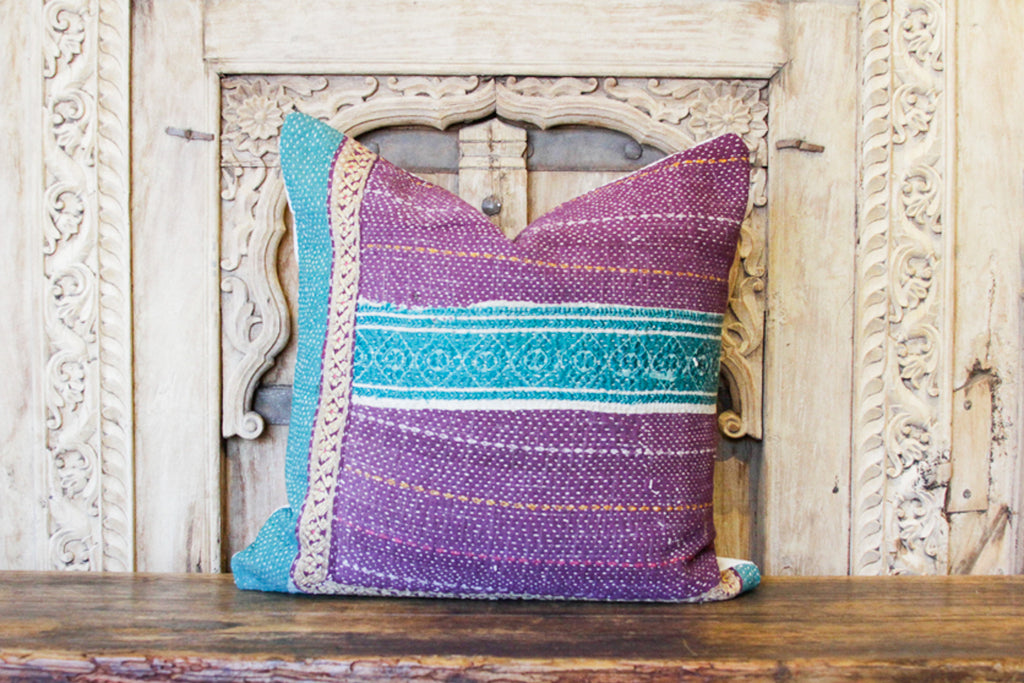 Arun Bengal Kantha Pillow, Pair