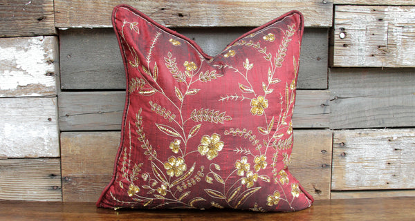 Burgundy Kasoti Pillow