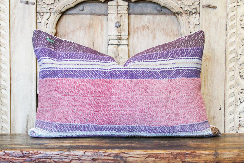 Danika Bengal Kantha Lumbar Pillow, Pair (Trade)