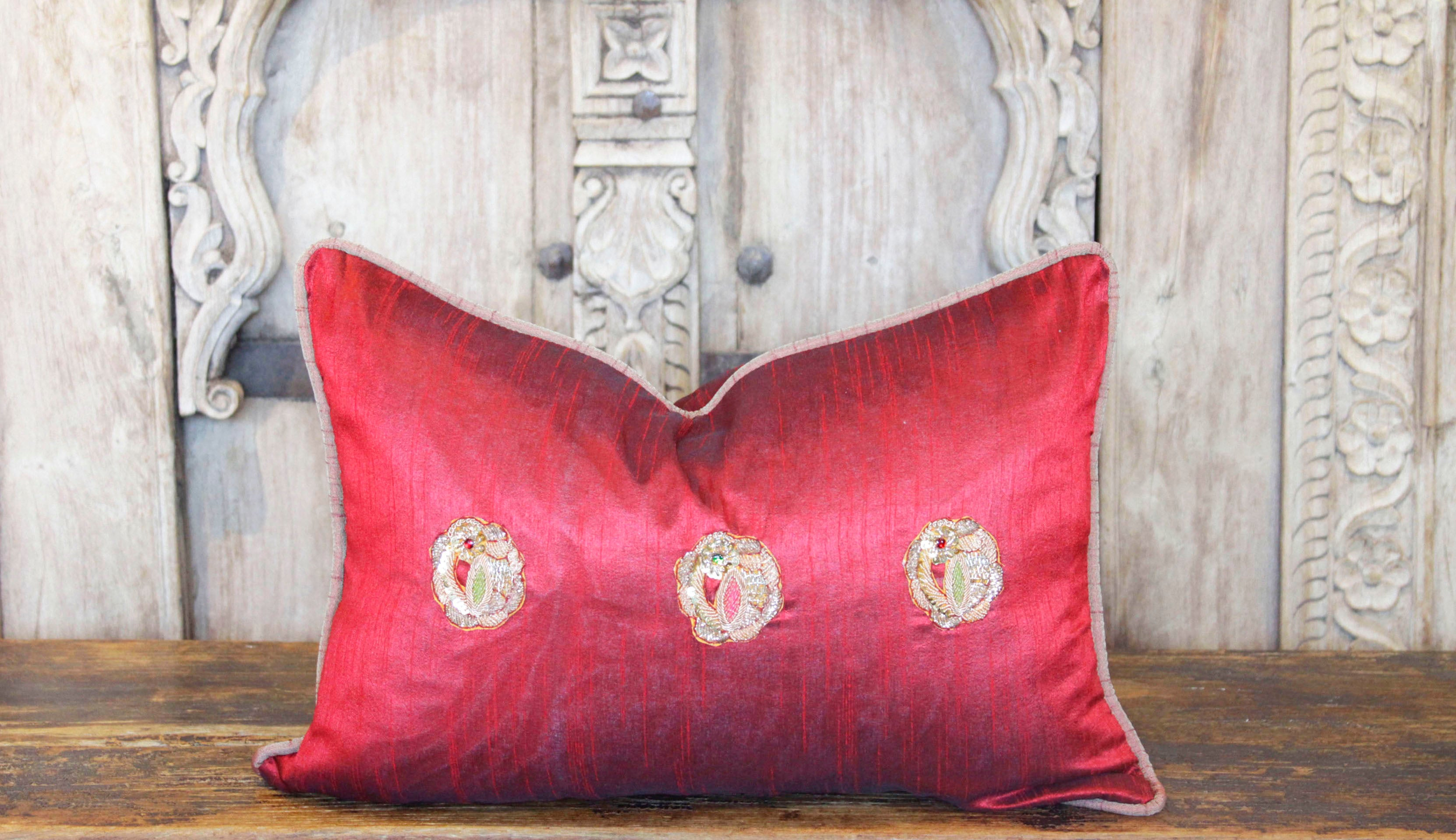 Embroidered Peacock Sage Lumbar Pillow