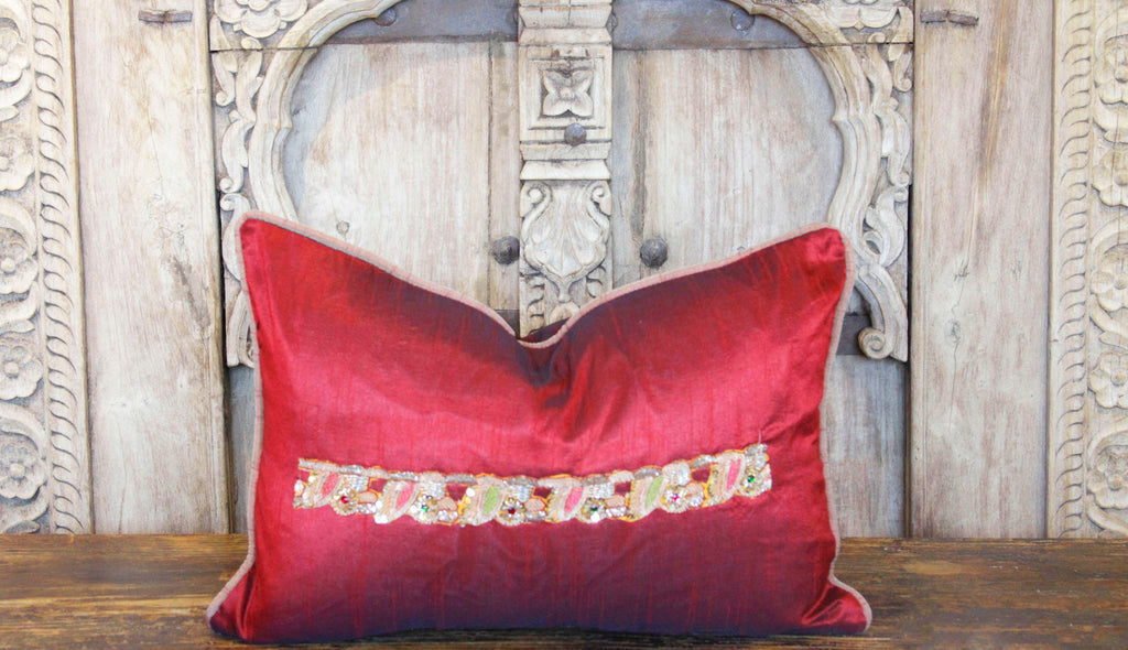 Golden Embroidery Peacock Sage Lumbar Pillow