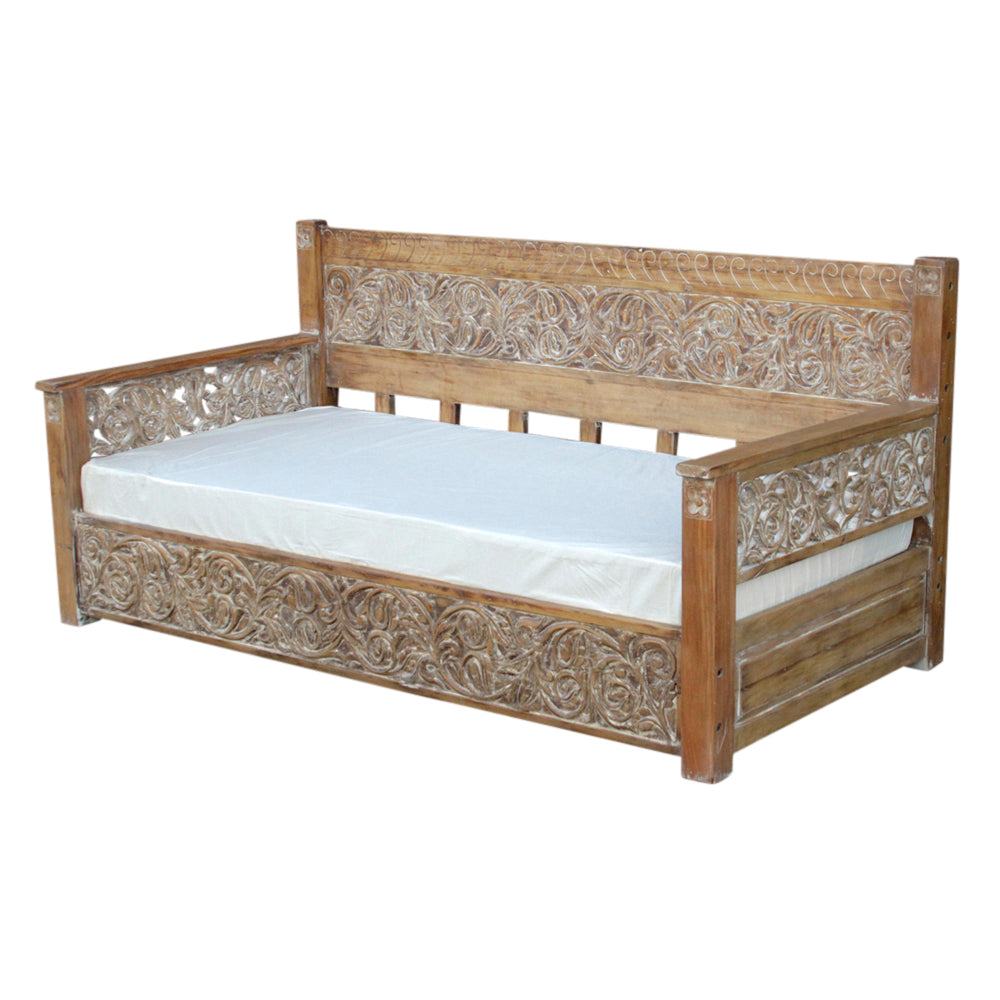 Natural Grand Carved Daybed