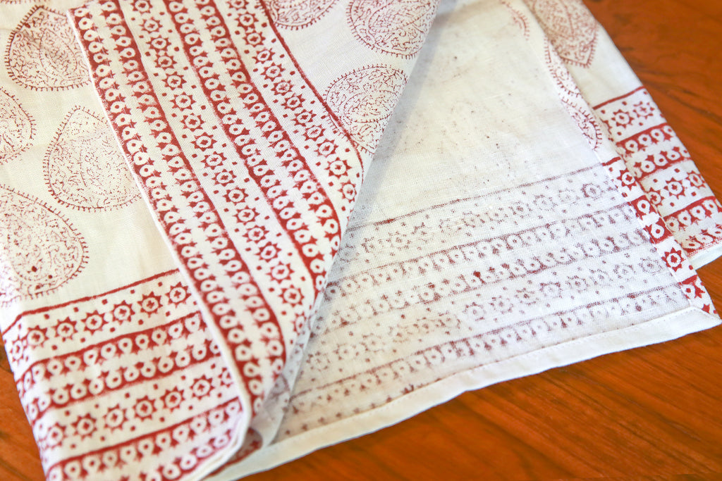 Tulasi Leaf Block Print Throw