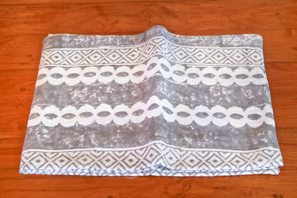 Velli Gray Block Print Throw