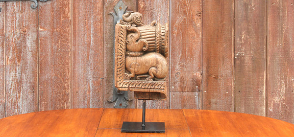 Antique Elephant Corbel on Stand