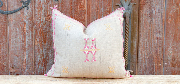 Taupe Moroccan Silk Rug Pillow